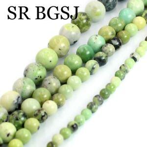 "4 6 8 10mm Natural Round Green Serpentine Gemstone Jewelry DIY Beads Strand 15"""