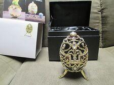 Black musical Egg Trinket Box by Keren Kopal Faberge Egg Austrian Crystal