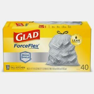 Glad ForceFlex PLUS 13 gal. Kitchen Trash Bags 40pk Drawstring Odor Shield 70355