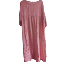 Hot Vintage Silk Loose Caftan Fit Maxi Mulberry Womens Long Dress Cotton Linen L