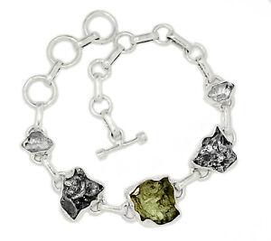 12g Genuine Czech Moldavite & Herkimer Diamond 925 Silver Bracelet SB16732