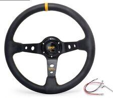 "OMP Yellow 350mm 3"" Deep Dish PVC Racing Steering Wheel Sport Drift Race"