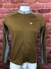 Men's Pearl Izumi Cycling Jersey Zip Long Sleeves Large Brown Gray -B23