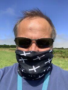 Cornish Flag St Piran Face Mask Travel Mask Multifunction Snood 100% Microfibre