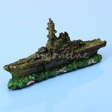 Aquarium Ornament Destroyer Navy War Boat Ship Wreck Fish Tank Cave Decoration
