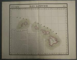 HAWAII UNITED STATES 1827 VANDERMAELEN UNUSUAL LARGE ANTIQUE LITHOGRAPHIC MAP