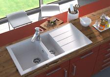 lavabo granito Fregadero de Compuesto Cocina 100 x 50cm blanco respekta