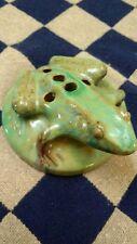 Antique Fulper Pottery? 5 Hole Green Flower Frog Figurine