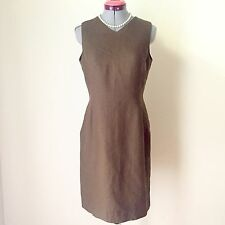 Women's Talbots Irish Linen V-Neck Summer Brown Sheath Dress Sz 6