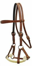 Brown Soft Argentine Leather Western Rope Nose Sidepull Headstall Bitless Bridle