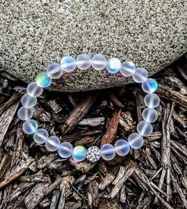 Enchanted White Mystic Mermaid Glass Friendship Bracelet with Crystal Disco Bead