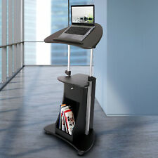 B005 Techni Mobili,Sit-To-Stand Adjustable Laptop Cart with Storage Freesshippin