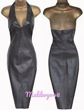 KAREN MILLEN ✩ CLASSIC VINTAGE BLACK STITCHED LEATHER HALTER PENCIL DRESS ✩ UK12
