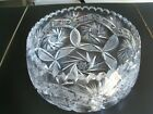 Vintage Crystal Glass Saw Tooth Rim Heavily Decorated Bowl