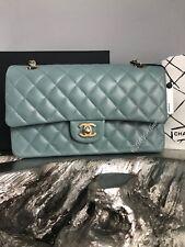 NWT CHANEL 18C Iridescent Light Blue Caviar Medium Classic Double Flap Gold 2018