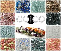CHOOSE COLOR! 50pcs 6x8mm CoCo Vertical Beads Czech Pressed Glass