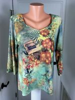 Christopher & Banks Womens Top Spandex Polyester Floral XL