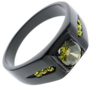 Neon Peridot Cz 5 carat total weight Black Stainless Steel Ring size 10 T41