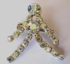 broche ancienne cristaux swarovski boréalis bijou vintage couleur argent *324
