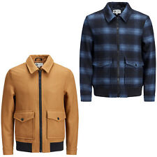 Jack & Jones Core Jacket Wool Chequered Camel Collared Bomber Coat Mens JCOCheck