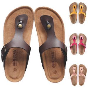 Men Women Buckle T-Thong Strap Slide Slipper Cork Footbed Platform Sandals Shoes