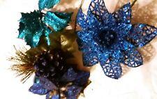 3 pc Floral Stems Picks Glitter Blue Metallic Christmas poinsettia Wreath Craft