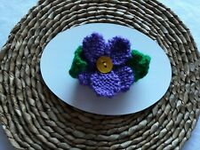 Hand Knitted Daisy Flower Corsage Brooch: Purple - Birthday Gift Novelty Home