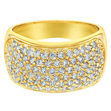 18k Gold Plated Wide Band Micro Pave Clear Crystal Women's Fashion Rings