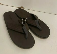 American Eagle Outfitters Leather Flip Flops Sandals Dark Brown Size 8 New AEO