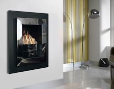 POLISHED CHROME INSET GAS FIRE HOLE IN WALL MANUAL BLACK WALL MOUNTED PEBBLES
