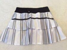 Lululemon Pace Setter Skirt 2 tall womensBlack white grey striped Run Workout