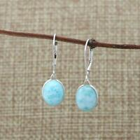 925 Sterling Silver Natural Larimar Lever Back Drop Earrings 8 x 10mm Gift