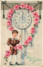 BG8577 clock flower boy child  neujahr new year greetings germany