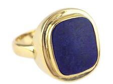 Art Deco Herren 14 K 585 Gelb Gold Lapislazuli Platte Siegel Wappen Ring