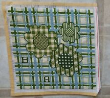 Vintage Completed Needlepoint Green Blue Checkered Plaid Square 13 X 13