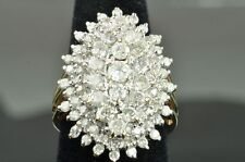 HUGE 3.10 CARAT MOSSIANITE  DIAMOND CLUSTER 10K YELLOW GOLD COCKTAIL RING