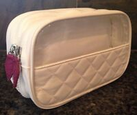 Trish McEvoy Cosmetic Makeup Travel Bag Multiple Zip Compartment White +Burgundy