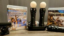 Playstation 3 Move Set w/ Camera, 3 Controllers, Charger Base, & Games