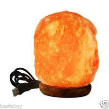 Himalayan Natural Crystal Salt Lamp, USB, LED, 4 inch On Wooden Base