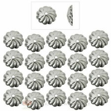 (20) Sterling Silver Plated 7mm Fluted Swirl Bead Caps Textured Jewelry Making