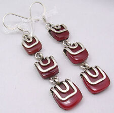 925 Sterling Silver Sparkling CARNELIAN 3 GEMSTONE UNUSUAL Earrings 2 3/8 inches