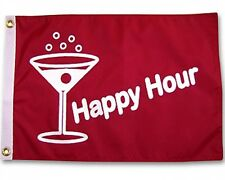 """Happy Hour Martini Boat Flag Red 12X18"""" New Yacht"""