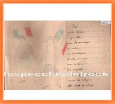 """QD.503 - Fogli di quaderno - Con disegno e poesia """" Inno """" -"""