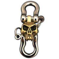 Skull Double Shackle EDC Brass Carabiner Keychain Key Ring with Brass Skull