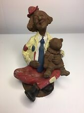 "Clown Carved Figurine Pecan Shell Resin John Pleasants JP 89 5"""