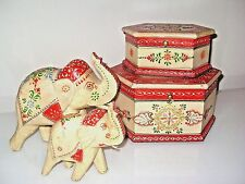 SET OF 2 INDIAN DECORATIVE RED & CREAM ELEPHANTS MUM & BABY OR STORAGE BOXES NEW