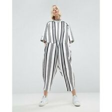 ASOS WHITE OVERSIZED Striped Jumpsuit -10UK BRAND NEW WITH TAGS