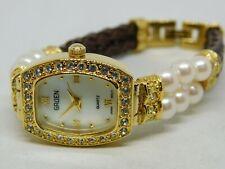 "Gruen Gold Tone Crystal Inlay Case Quartz Analog Ladies Watch Sz. 6 1/2"""