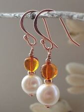 Beautiful Baltic AMBER & White Freshwater Pearls 14ct Rolled Rose Gold Earrings