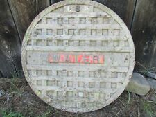 Antique Vintage Cast Iron Manhole Sewer Lid Cover Pattern made of Wood